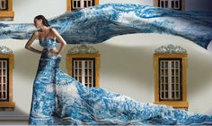 Azulejo tile print flowing dress and Portuguese painted windows