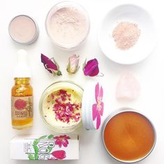my deep rose obsession . featuring : rose shimmer lip tint . rose blush powder . beach rose serum . freshly made batches (as of the past moon rise) of beach rose face cream + rose royality balm find them at plantmakeup.com / good4you.etsy.com