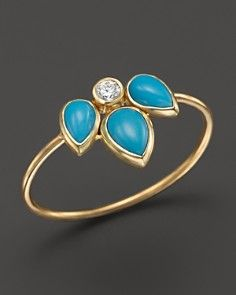 Zo� Chicco 14K Yellow Gold Ring with Turquoise and Diamond