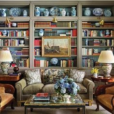 Ideal best home library designs just on neuron home design Cozy Library, Library Design, Library Art, Dream Library, Library Ideas, Home Interior, Interior Decorating, Interior Design, Bookshelf Decorating