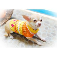 Cute Dog Clothes Unique Crochet Pet Clothing Orange Flower Summer Teacup Yorkie Chihuahua Puppy Clothes DK811 Myknitt- Free Shipping