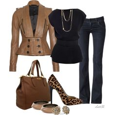 A fashion look from January 2013 featuring silk shirt, leather jackets and Hudson Jeans. Browse and shop related looks.