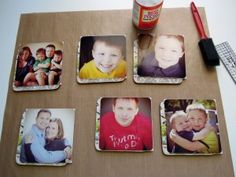 photo coasters using cork coasters