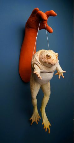 """Russell Wrankle, Dangling Amphibian Ceramic, Glaze, Cable, 7""""x 10""""x 26"""", 2014"""