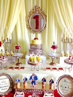 Charming Beauty and the Beast Birthday Party Cake table from a Beauty and the Beast Birthday Party on Kara's Party Ideas Beauty And Beast Birthday, Beauty And The Beast Theme, Beauty Beast, 1st Birthday Party For Girls, First Birthday Cakes, 80th Birthday, Birthday Ideas, Belle Cake, Party Cakes