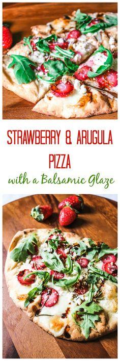 Savory Strawberry Pizza with Balasmic, Feta, Rosemary and Arugula #FLStrawberry #SundaySupper AD @Flastrawberries