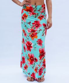 Look what I found on #zulily! Mint Floral Fold-Over Maxi Skirt #zulilyfinds
