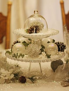 Table centerpiece for a winter  themed party ....