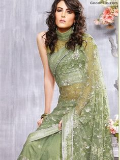 Pastel Green Sequined Net Saree in $145.00. Buy it at: http://goodbells.com/saree/pastel-green-sequined-net-saree.html?utm_source=pinterest_medium=link_campaign=pin13juneR15P58