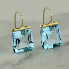 Blue Topaz Square Drops – Beautiful Earrings for Girls – Earrings 2019 Gems Jewelry, Gemstone Jewelry, Jewelery, Fine Jewelry, Jewelry Making, Topaz Earrings, Ring Verlobung, Schmuck Design, Cluster Ring