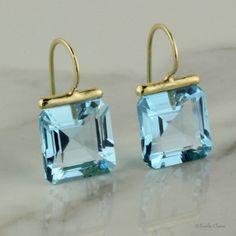 Blue Topaz Square Drops – Beautiful Earrings for Girls – Earrings 2019 Gems Jewelry, Gemstone Jewelry, Jewelery, Fine Jewelry, Jewelry Making, Modern Jewelry, Topaz Earrings, Ring Verlobung, Cluster Ring
