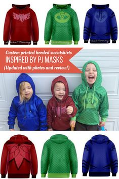 PJ Masks hooded sweatshirts for your favorite little fans! Links to order your… Pj Masks Costume, Halloween Costumes, 4th Birthday Parties, Birthday Fun, Birthday Ideas, Pjmask Party, Party Ideas, Hooded Sweatshirts, Hoodies