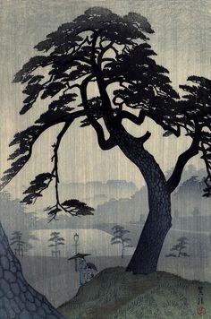 Shiro Kasamatsu (1891-1991) Pine in Rain.