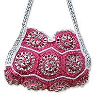 Soda pop-top shoulder bag, 'Silver Mandala Energy'
