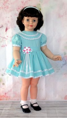 BEAUTIFUL AQUA ENSEMBLE for Ideal PATTI PLAYPAL made from vintage dotted swiss | Dolls & Bears, Dolls, By Brand, Company, Character | eBay! Beautiful Dolls, Doll Clothes, Harajuku, Bears, Aqua, Dots, Best Deals, Character, Vintage