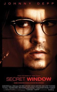 """The poster for """"Secret Window"""" (2004) starring Johnny Depp. Read our review of this and other cabin movies at: cottagemixtape.com Popular Movies, Great Movies, Movies Free, Johnny Depp Secret Window, Jonathan Pryce, Stephen King, Johnny Depp Movies, Movies Worth Watching, Anthony Hopkins"""