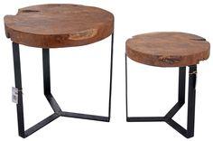 Komplet stolików drewnianych - styl Loft