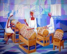 quadro - rendeiras - oléo sobre tela - a.amori kantklos