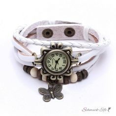 Leder Armbanduhr Schmetterling VINTAGE weiß   im...