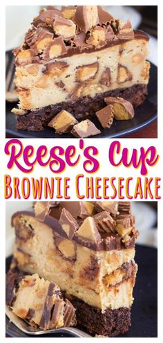 With a thick brownie bottom, luscious peanut butter cheesecake, and LOADS of Reese's Cups! #cheesecake #reeses #peanutbutter #brownies #baking #recipe #reesescups #chocolate #chocolatecheesecake