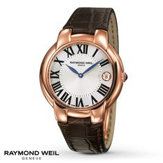 This lovely women's dress watch from RAYMOND WEIL features traditional styling updated with a rounded edge, 35mm rose-gold-tone PVD-finish stainless steel case and a rich brown alligator leather strap. The patterned silver-tone dial has large black Roman numerals, blue hour and minute hands and a round date window at 3 o'clock. A scratch-resistant sapphire crystal protects the Swiss quartz movement. This Jasmine women's watch is water-resistant to 50 meters.