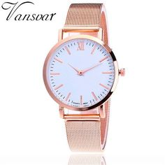 53fc35e3f4a Hot Selling Vansvar Casual Women Quartz Watch Silver And Gold Mesh Band  Simple Dial WristWatch Best Gift Relogio Feminino V72