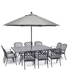 "Vintage II Outdoor Cast Aluminum 11-Pc. Dining Set (84"" X 60"" Table & 10 Dining Chairs) With Sunbrella® Cushions, Created for Macy's 4 Dining Chairs, Outdoor Dining Furniture, Patio Dining, Dining Set, Rectangle Dining Table, Square Tables, Outdoor Cushions, Colorful Furniture"