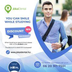 Tanulás közben mosolyoghatsz!  Az időpont foglaláskor hivatkozz a diák kódra.  Az akció visszavonásig érvényes!  #jókaidental #fogászat #fogorvos #szájsebészet #rendelő #Budapest #Magyarorszag #Hungary #Budapest6kerulet #belvaros Budapest, Appointments, Clinic, Dental, Coding, Study, Studio, Studying, Teeth