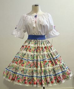 3cf847351592 Floral Skirt & White Blouse Square Dance Dress/Outfit – Women Size  Medium NWT