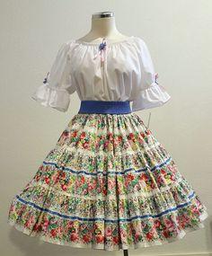 Floral Skirt & White Blouse Square Dance Dress/Outfit – Women Size Medium NWT #SquareUpFashions