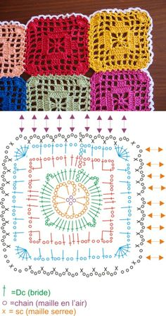 Technique :: Le monde de Sucrette's Graphic Square table runner, with join-as-you-go method using simple chain stitches. #crochet #JAYG