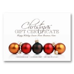 This Stylish Christmas And Holiday Season Gift Certificate Template,  Featuring Five Xmas Ornaments, Makes  Christmas Gift Vouchers Templates