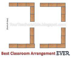 Best Classroom Desk Arrangement! Great for reading groups!  (YourTeachersAide.blogspot.com)