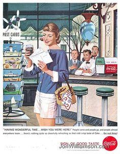 sea side vacation postcards Coca Cola ad 1958