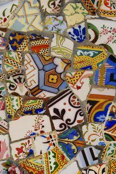 A sampling of trencadis mosaic at Gaudi's Parc Guell, Barcelona, Spain