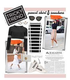 """Tricky Trend: Pencil Skirts and Sneakers"" by gabree ❤ liked on Polyvore featuring CÉLINE, Karl Lagerfeld, Balmain, Alexander McQueen, Norma Kamali, Versace and Pamela Love"