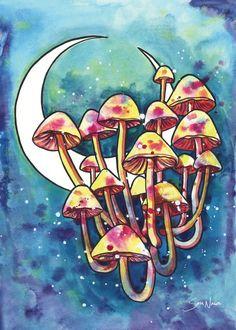 Mushroom Patch Wall Tapestry by Sam Nagel - Small: x Mushroom Paint, Mushroom Drawing, Trippy Painting, Painting & Drawing, Leaf Drawing, Painting Inspiration, Art Inspo, Tumblr, Mushroom Wallpaper