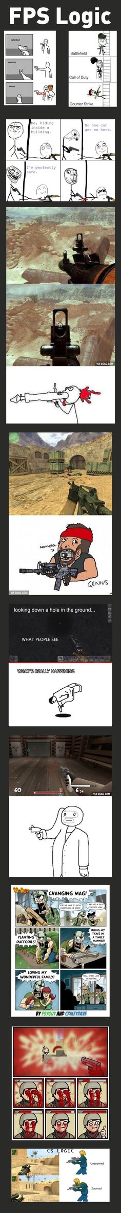 FPS Logic - The logic in First person shooter games is simply hilarious. Video Game Logic, Video Games Funny, Funny Games, Memes Lol, Video Humour, Gaming Memes, Geek Culture, Funny Pins, Funny Stuff