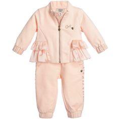 Armani Baby - Baby Girls Grey & Pink Floral Tracksuit   Childrensalon