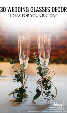 30 Wedding Glasses Décor Ideas For Your Big Day ❤ The best ideas toasting flutes for bride and groom in a different style which impress you. Look this wedding glasses decor ideas and happy planning! See more: http://www.weddingforward.com/wedding-glasses/ #wedding #decor #weddingdecorations #bridaldecorations #weddingglasses