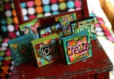 Art Blox full set of 20 by AllenDesignsStudio on Etsy Small Canvas Paintings, Mini Canvas Art, Mini Paintings, Painting Canvas, Altered Canvas, Altered Art, Canvas Crafts, Paper Crafts, Mixed Media Canvas