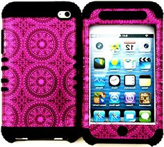 """myLife 2 Layered Protection Hybrid Case for Apple iPod 4 iTouch {Magenta Pink and Coal Black """"Tribal Dream Catcher Circles"""" Three Piece SECURE-Fit Rubberized Gel} myLife Brand Products http://www.amazon.com/dp/B00VKMFN4A/ref=cm_sw_r_pi_dp_oUcmvb0XGB2Z0"""