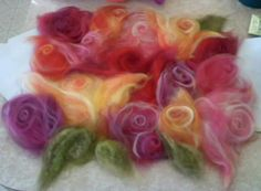 Almost as beautiful as the finished felt! Needle Felted, Nuno Felting, Felt Flowers, Fabric Flowers, Felt Wall Hanging, Felt Pictures, Nuno Felt Scarf, Wool Art, Felting Tutorials