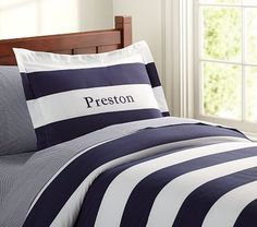 Rugby Stripe Duvet Cover #PotteryBarnKids