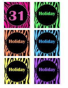 Zebra/bright color themed classroom items...calendar numbers 1-31 plus holidays
