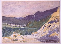 Landscape in the Pyrenees at Arudy by Pierre Laprade, graphite & watercolor