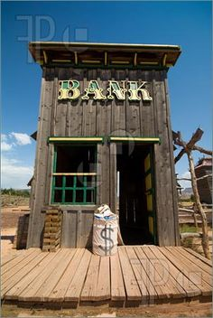 Old Western Town Buildings | Image of Old western style bank in old ghost town