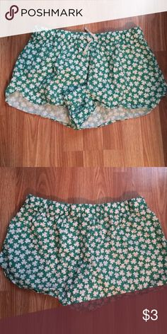 Old Mavy pj shorts, L These pj shorts are green with white shamrocks. Super cute and super comfy. Old Navy Intimates & Sleepwear Pajamas