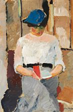 """Moderne malerier: Olaf Rude: """"Læsende ung Dame"""". 1912. Olie på lærred. 96 x 64."""