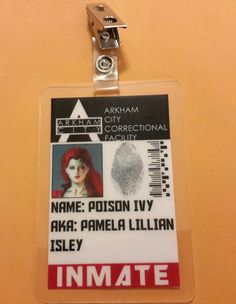 Batman ID Badge- Arkham City Correctional Inmate Poison Ivy cosplay prop costume